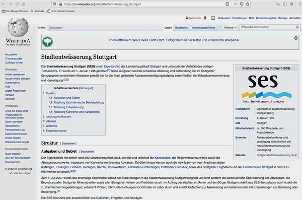 Die Stadtentwässerung Stuttgart SES ist jetzt in der weltweiten Enzyklopädie Wikipedia zu finden