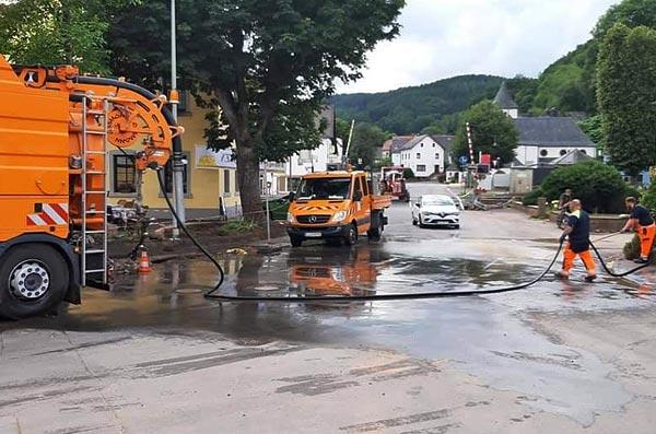 Die SES leistet Kanal-Nothilfe im Starkregen-Katastrophengebiet der Verbandsgemeinde Gerolstein